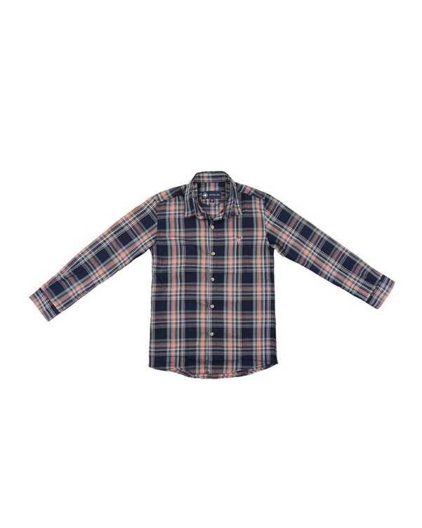 پیراهن پسرانه کد G-20119-NVسرمه ای گلبهی چهارخانه ناوالس