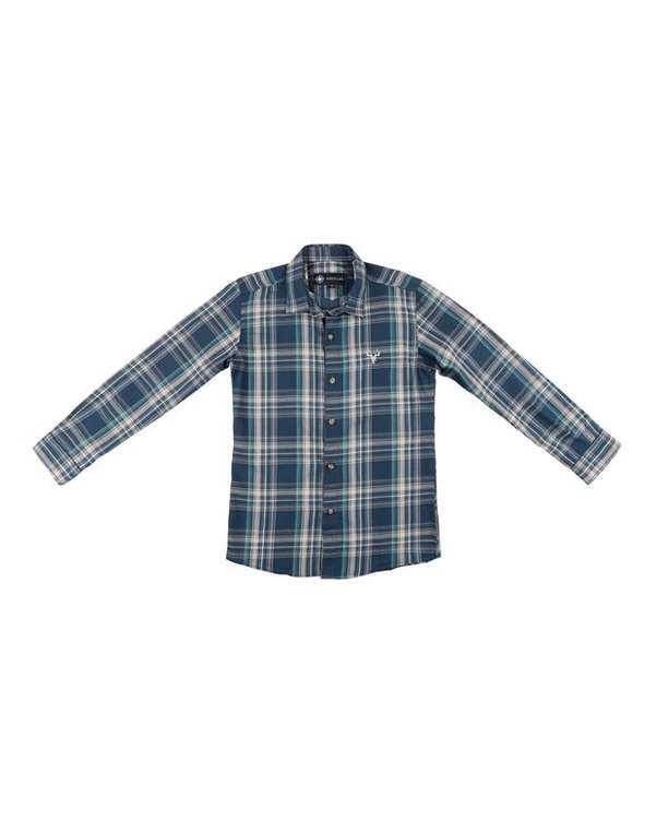 پیراهن پسرانه مدل G-20119-BL سرمه ای چهارخانه ناوالس