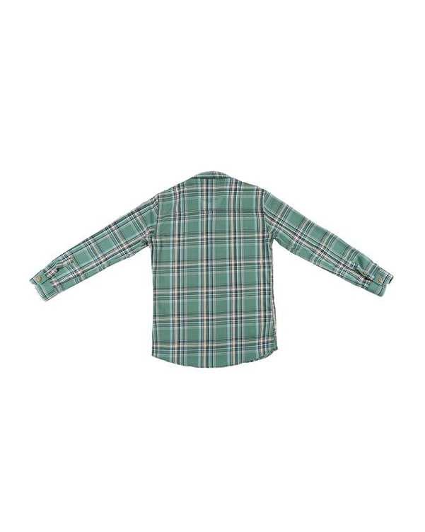 پیراهن پسرانه مدل G-20119-GN سبز چهارخانه ناوالس