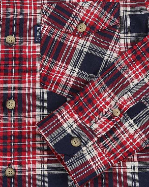 پیراهن پسرانه مدل R-20119-RD قرمز سرمه ای چهارخانه ناوالس