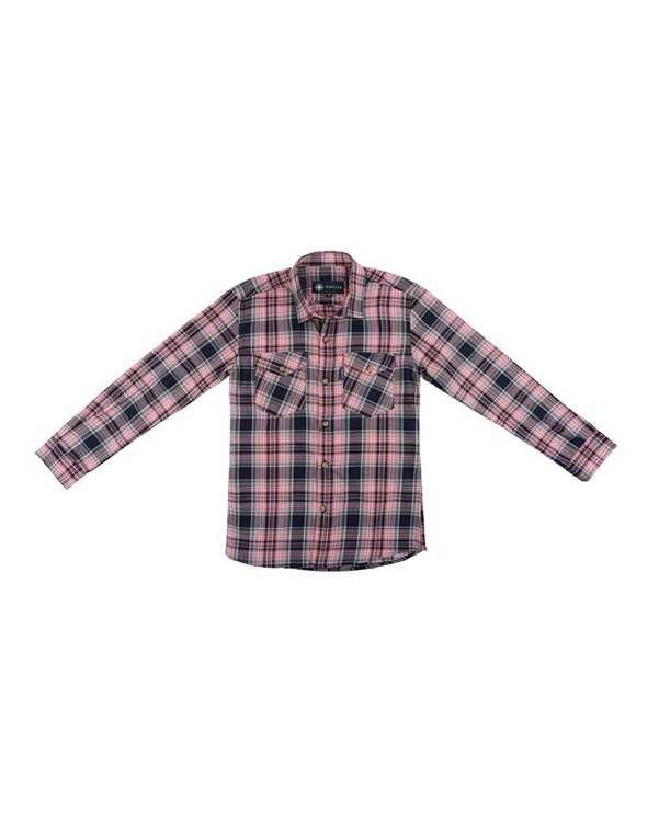 پیراهن پسرانه مدل R-20119-PK صورتی سرمه ای چهارخانه ناوالس