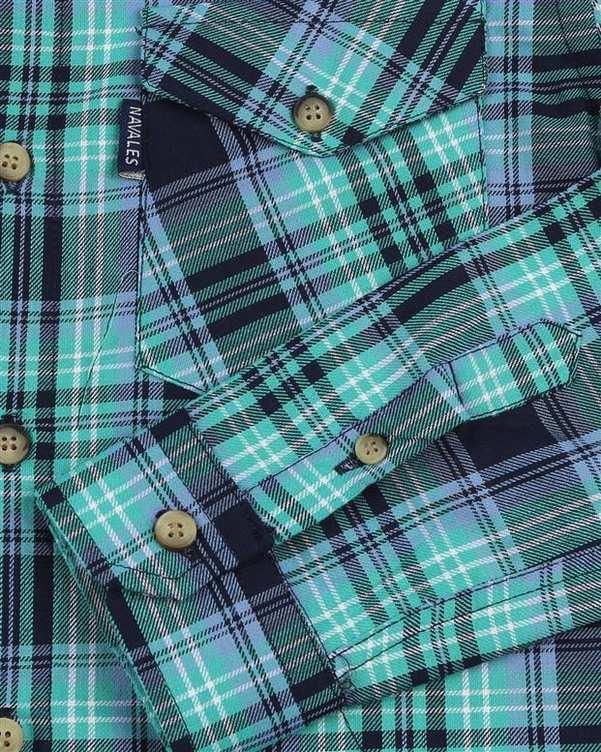 پیراهن پسرانه مدل R-20119-GN سبز آبی چهارخانه ناوالس