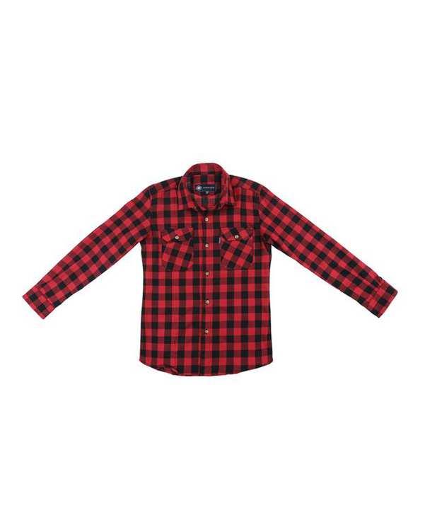 پیراهن پسرانه کد D-20119-RDBK قرمز مشکی چهارخانه ناوالس