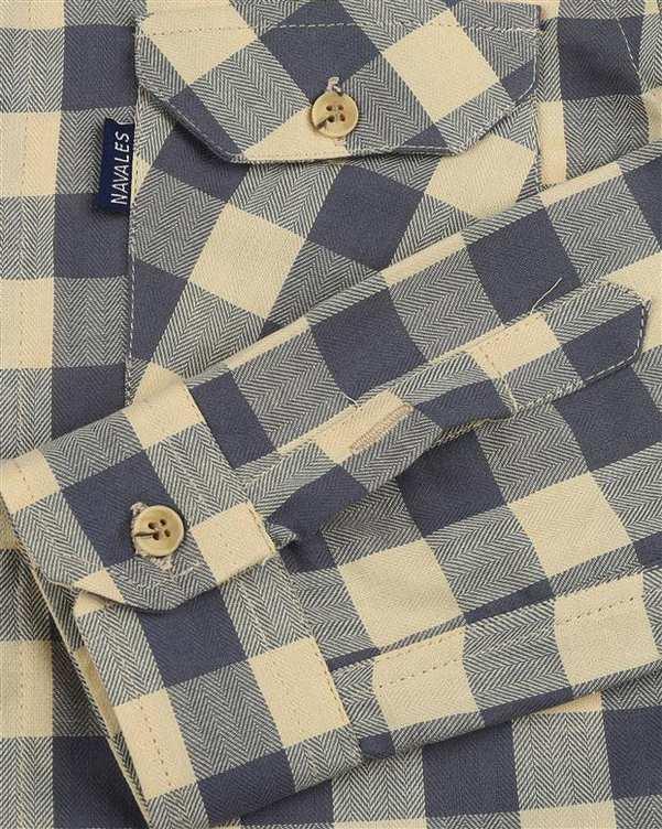 پیراهن پسرانه کد D-20119-YLGY طوسی زرد چهارخانه ناوالس