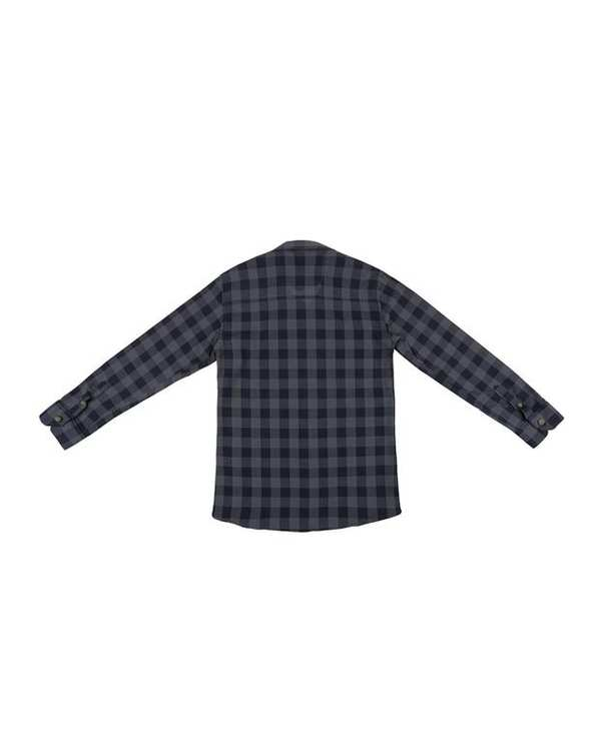 پیراهن پسرانه مدل D-20119-GY طوسی سرمه ای چهارخانه ناوالس