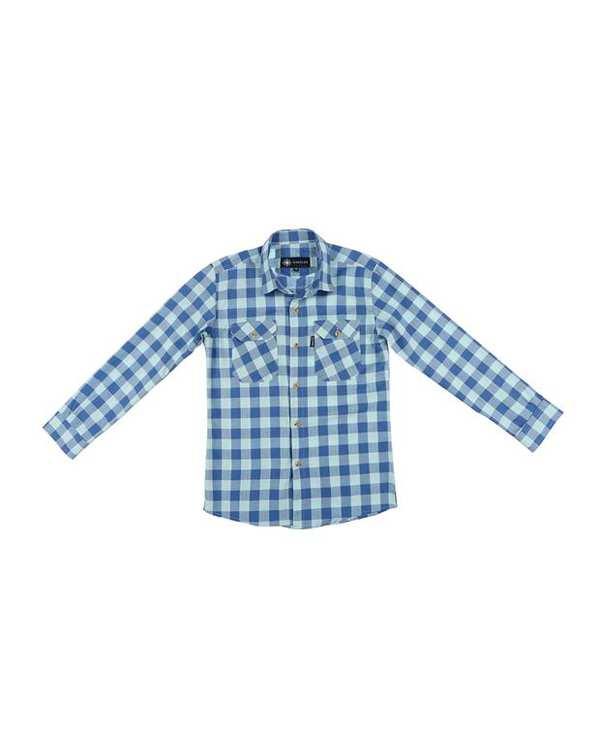 پیراهن پسرانه کد D-20119-BL آبی چهارخانه ناوالس