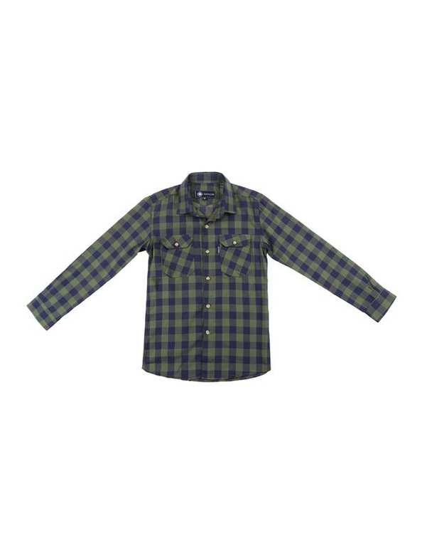پیراهن پسرانه کد D-20119-GN سبز سرمه ای چهارخانه ناوالس