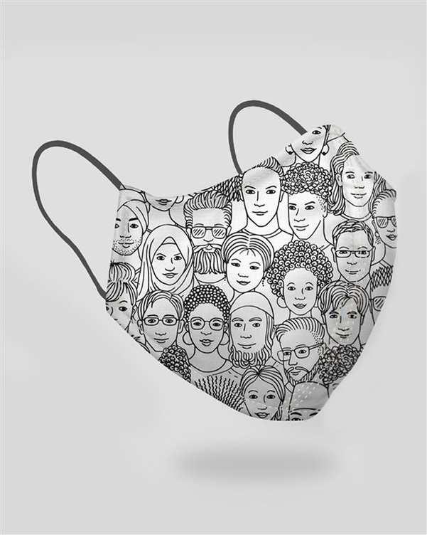 ماسک تنفسی زنانه سفید مشکی طرح مردم آکوکرفتز
