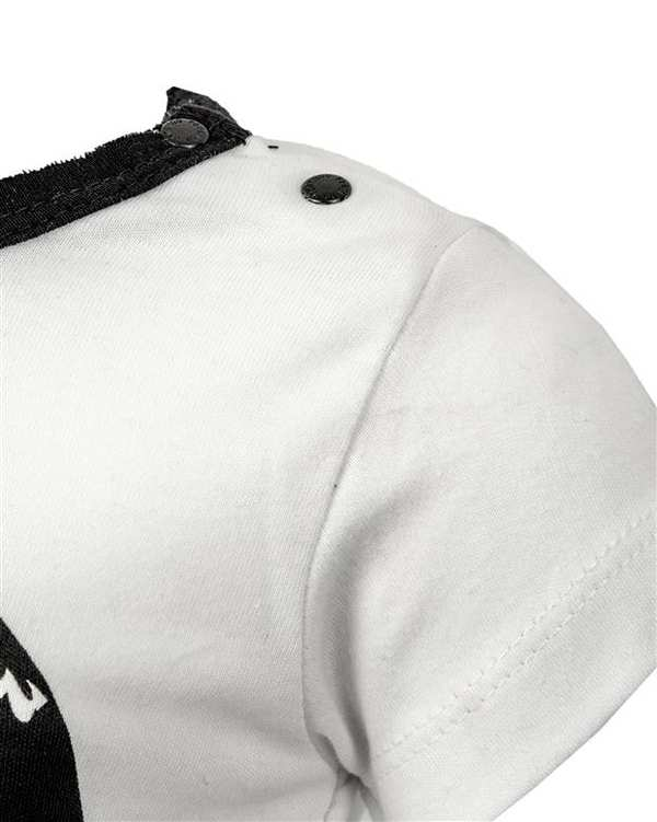 ست تی شرت و شلوار نوزادی پسرانه سفید مشکی پانولینو