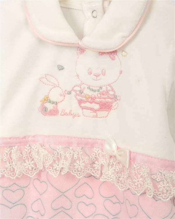سرهمی نوزادی دخترانه نخی سفید صورتی السی