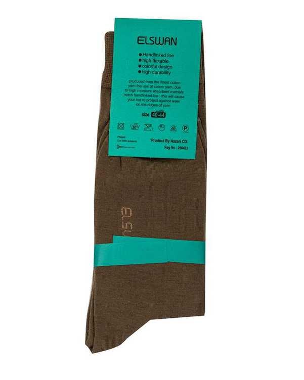 جوراب مردانه ساق دار سبز خاکی السوان