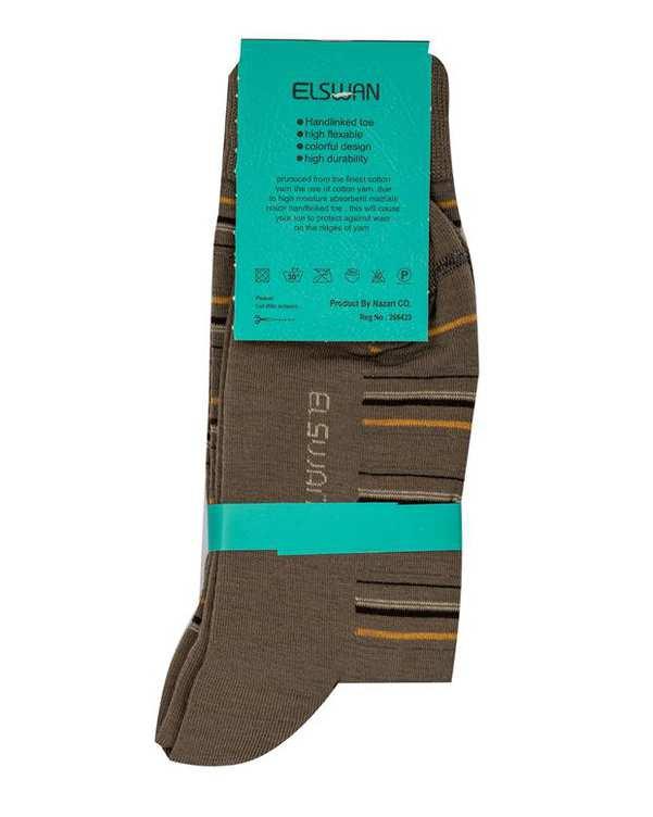 جوراب مردانه ساق دار سبز خاکی راه راه السوان