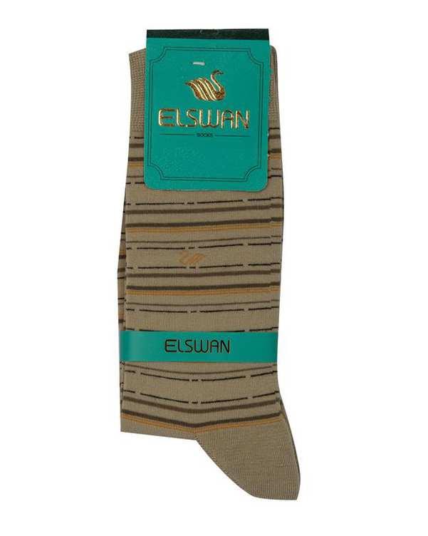 جوراب مردانه ساق دار خاکی راه راه السوان