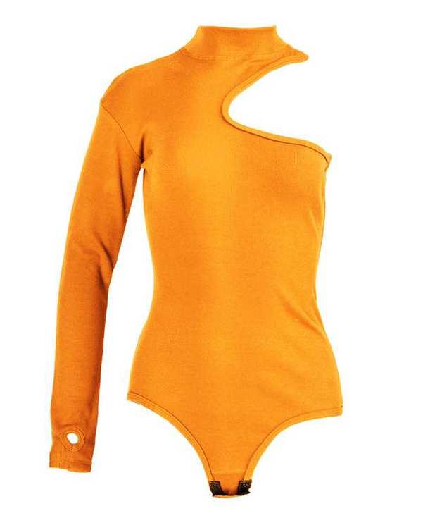 بادی زنانه یقه ایستاده نخی پرتقالی پپا