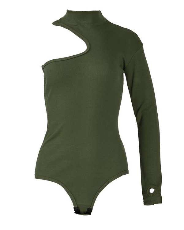 بادی زنانه یقه ایستاده نخی سبز زیتونی پپا