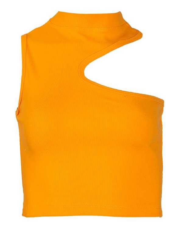 تاپ زنانه نیم تنه یقه سه سانت نخی پرتقالی پپا