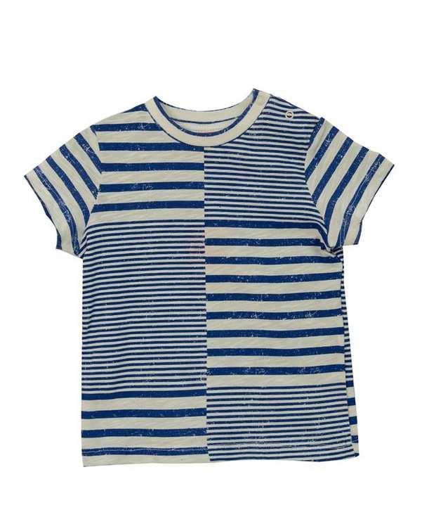 تی شرت پسرانه نوزادی نخی سفید آبی راه راه کوتون
