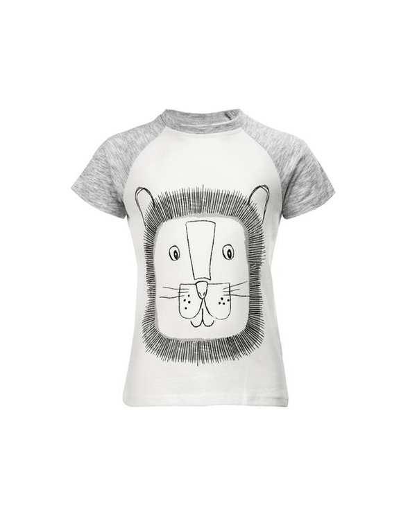 تی شرت پسرانه نوزادی نخی سفید طوسی کوتون