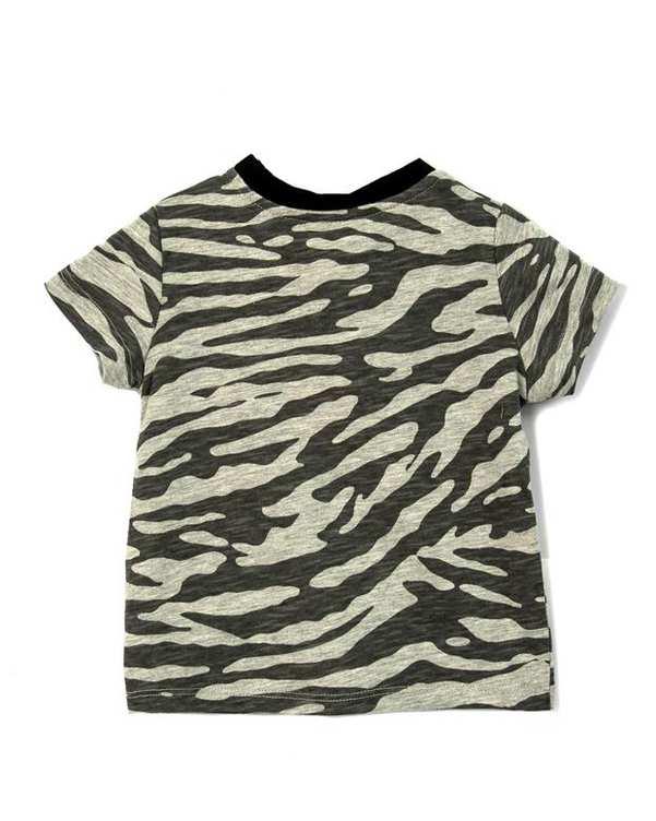 تی شرت پسرانه نوزادی نخی طوسی ارتشی کوتون