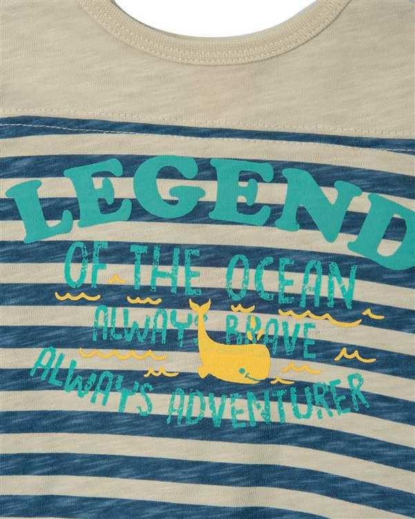 تی شرت پسرانه نوزادی نخی طوسی آبی راه راه کوتون