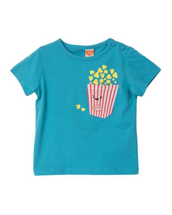 تی شرت پسرانه نوزادی نخی آبی کوتون