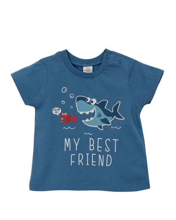 تی شرت پسرانه نوزادی نخی آبی ال سی وایکیکی