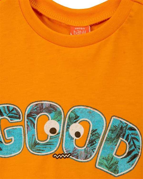 تی شرت پسرانه نوزادی نخی نارنجی کوتون