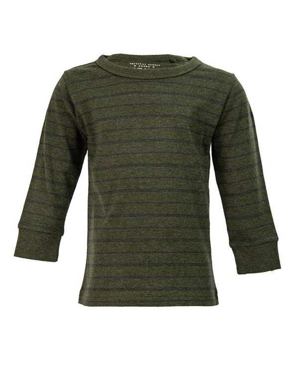 تی شرت پسرانه آستین بلند سبز تیره راه راه نکست