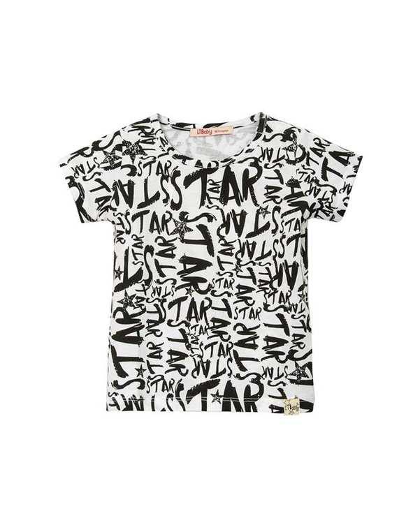 تی شرت نوزادی نخی یقه گرد سفید ال تی بیبی