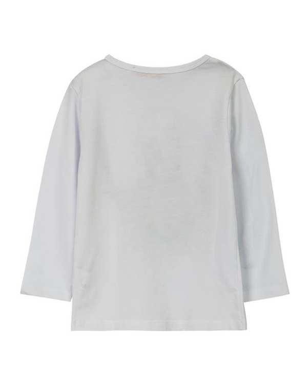 تی شرت دخترانه نخی آستین بلند سفید ال تی بیبی