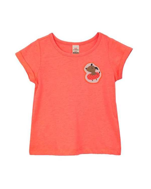 تی شرت دخترانه نوزادی صورتی فسفری ال سی وایکیکی