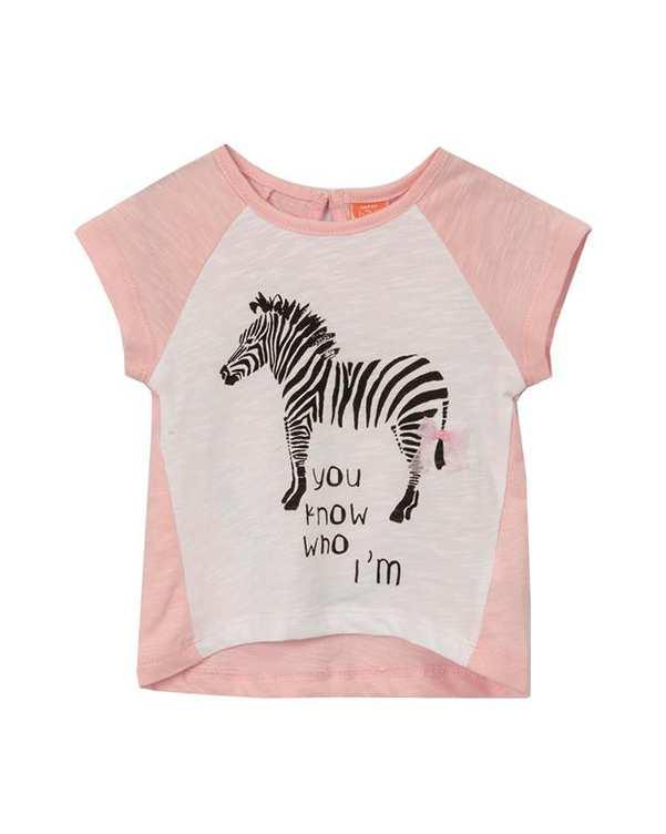 تی شرت دخترانه نوزادی نخی صورتی کوتون