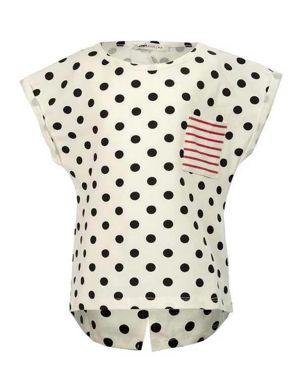 تی شرت دخترانه نخی سفید مشکی خال خالی کوتون