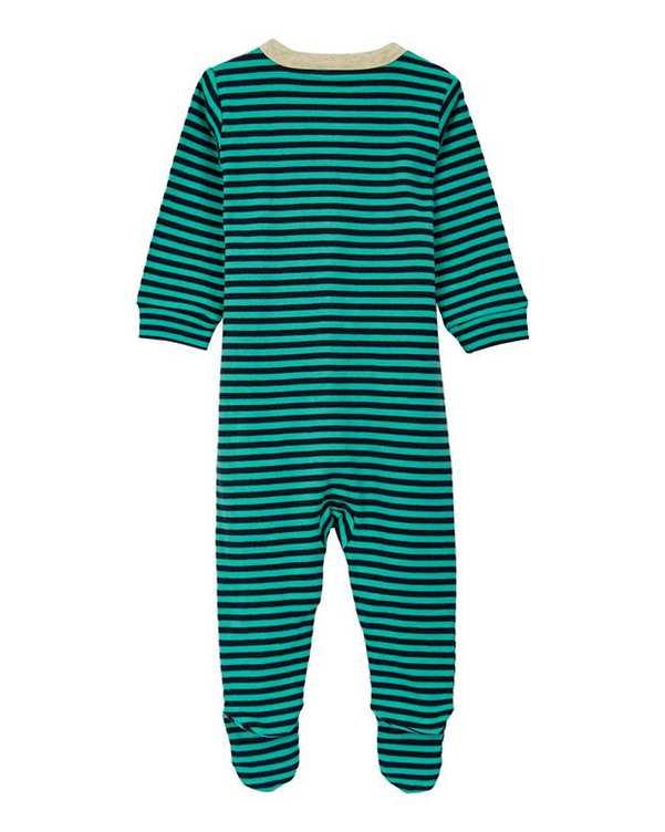 سرهمی نوزادی جوراب دار نخی سبز سرمه ای راه راه نکست