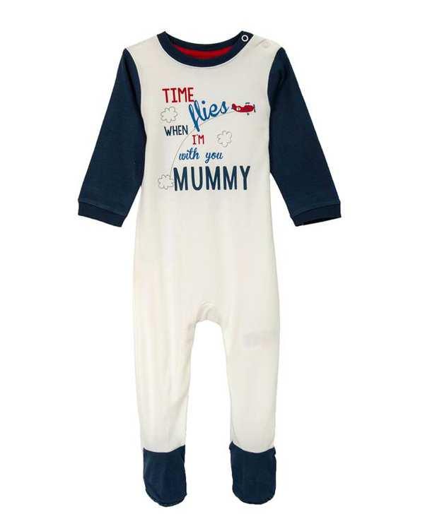 سرهمی پسرانه نوزادی جوراب دار نخی سفید سرمه ای مادرکر