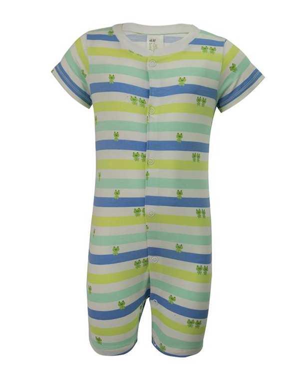 سرهمی پسرانه نوزادی نخی سفید سبز راه راه اچ اند ام