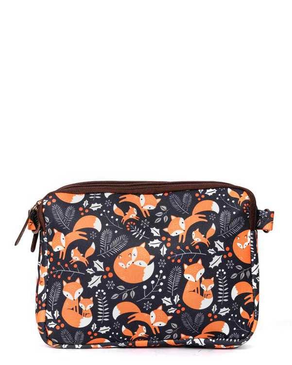 کیف دوشی زنانه مدل یاس طرح روباه سرمه ای وندی