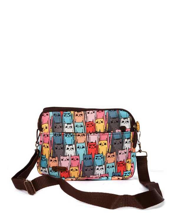 کیف دوشی زنانه مدل یاس طرح گربه ای چند رنگ وندی
