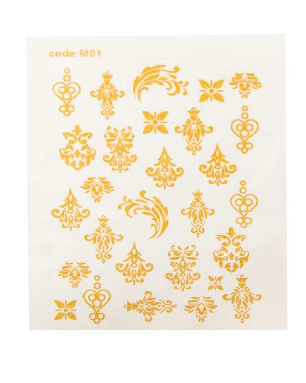 استیکر لنز 3 بعدی ناخن طرح گل و بوته طلایی مالیبو