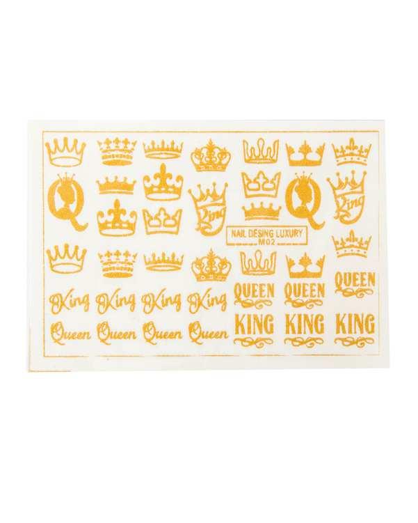 استیکر لنز ناخن 3 بعدی طرح King و Queenمالیبو