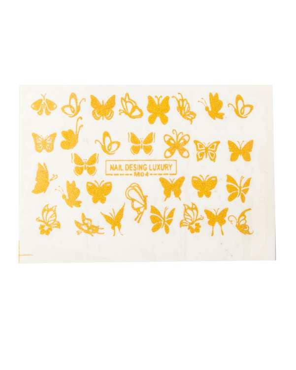 استیکر لنز ناخن 3 بعدی طرح پروانه طلایی مالیبو