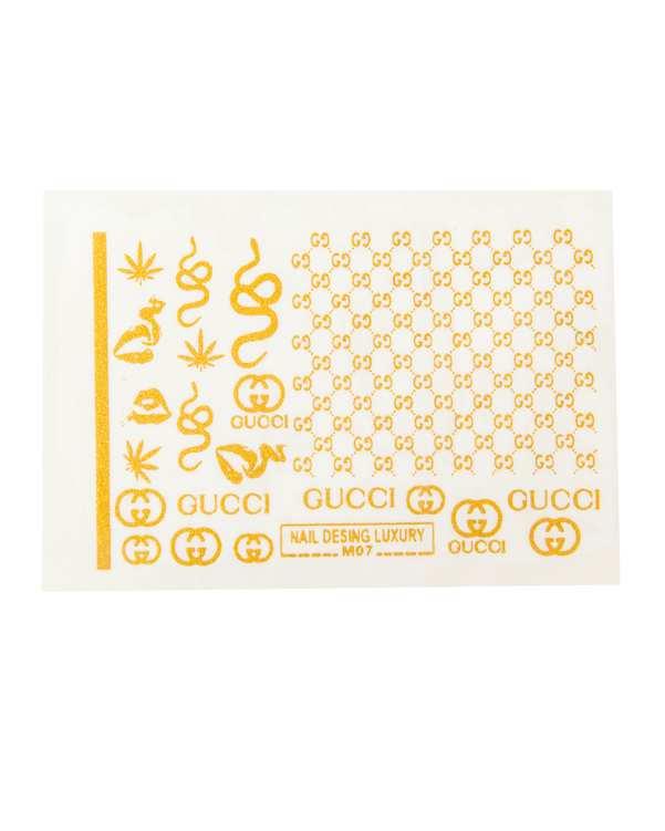 استیکر لنز ناخن 3 بعدی طرح لوگو Gucci مالیبو