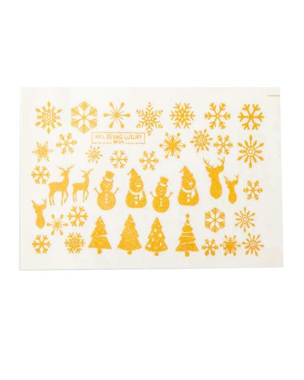 استیکر لنز ناخن 3 بعدی طرح زمستانی طلایی مالیبو