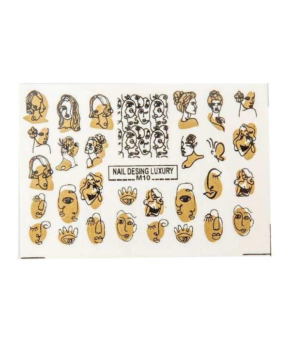استیکر لنز ناخن 3 بعدی طرح چهره و رخ زن طلایی مالیبو