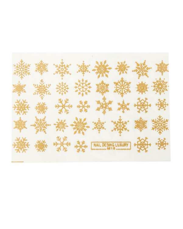 استیکر لنز ناخن سه بعدی طرح برف طلایی مالیبو