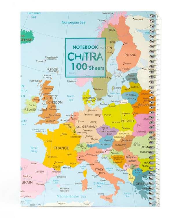 دفتر سیمی جلد سخت 100 برگ طرح نقشه چیترا