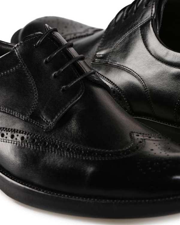 کفش چرم گاوی مردانه رسمی مشکی درسا