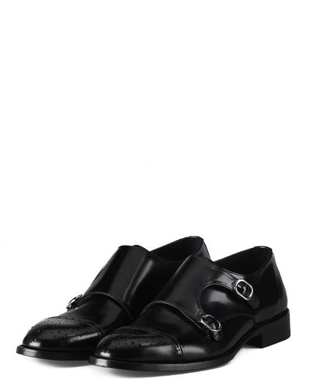 کفش چرم گاوی مردانه مانک استرپ مشکی درسا