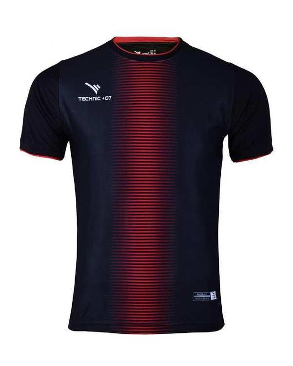 تی شرت ورزشی مردانه مشکی قرمز TS130 تکنیک