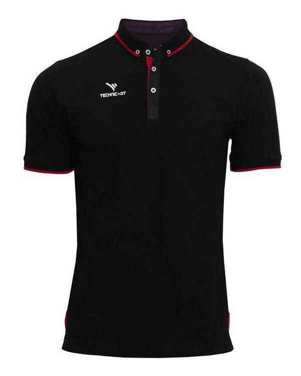 تی شرت ورزشی پنج دکمه مشکی قرمز TS127 تکنیک